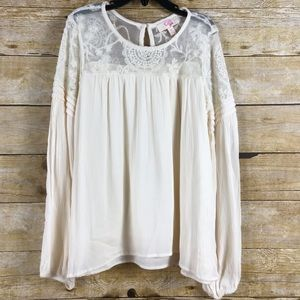 GB Girls Cream White Lace Top SZ M NEW